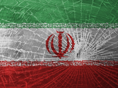 differential focus: Isolated broken glass or ice with a flag, Iran Stock Photo