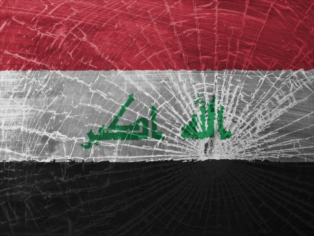 differential: Isolated broken glass or ice with a flag, Iraq Stock Photo