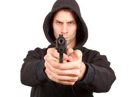 L'homme avec un fusil, isolé sur un fond blanc