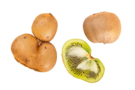 hairy pear: Fresh kiwis with funny deformations, isolated on white Stock Photo