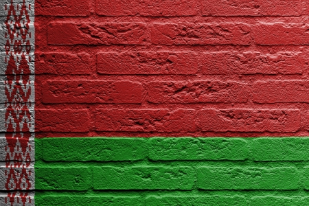 Brick wall with a painting of a flag isolated, Belarus photo