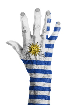 clipart wrinkles: Hand of an old woman wrapped in flag of Uruguay