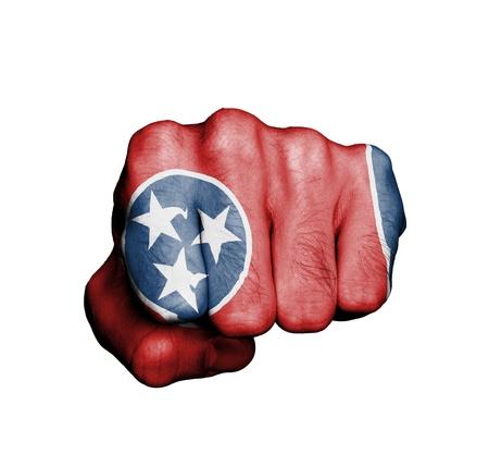 Estados Unidos, puño con la bandera de un estado, Tennessee Foto de archivo - 18050575
