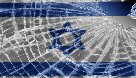 Broken ice or glass with a flag pattern, isolated, Israel Stock Photo - 18068067