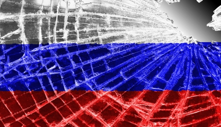 Broken ice or glass with a flag pattern, isolated, Russia Stock Photo - 18068083