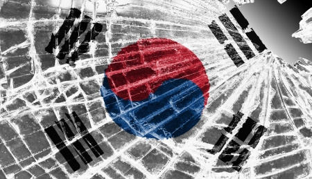 Broken ice or glass with a flag pattern, isolated, North Korea Stock Photo - 18068071