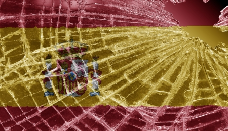 Broken ice or glass with a flag pattern, isolated, Spain Stock Photo - 18068070