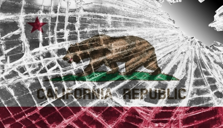 Broken ice or glass with a flag pattern, isolated, California Stock Photo - 18068069
