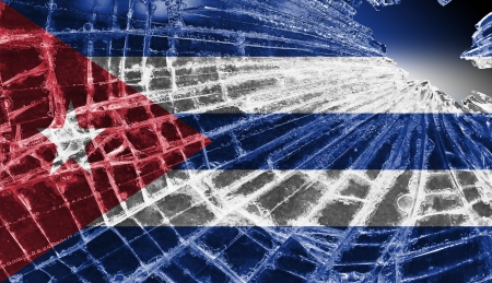 Broken ice or glass with a flag pattern, isolated, Cuba Stock Photo - 18068075