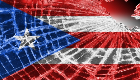 Broken ice or glass with a flag pattern, isolated, Puerto Rico Stock Photo - 18068085