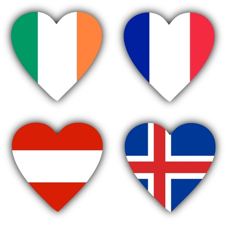 Flags in the shape of a heart, 4 different countries Stock Photo - 18116933