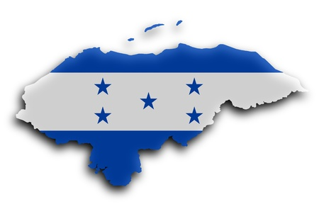 flag of honduras: Country shape outlined and filled with the flag, Honduras