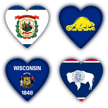 wisconsin flag: Flags in the shape of a heart, 4 different US states Stock Photo