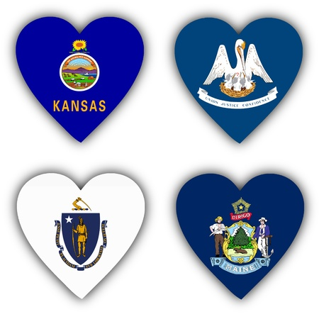 Flags in the shape of a heart, 4 different US states photo