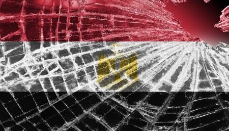 differential focus: Isolated broken glass or ice with a flag, Egypt
