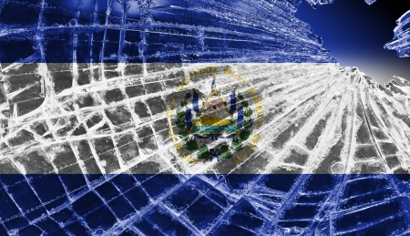 el salvador: Isolated broken glass or ice with a flag, El Salvador
