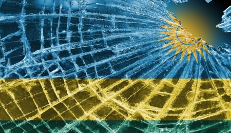 differential: Isolated broken glass or ice with a flag, Rwanda Stock Photo