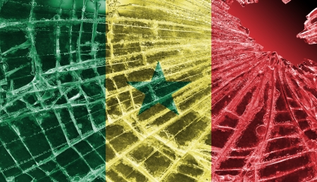 differential focus: Isolated broken glass or ice with a flag, Senegal