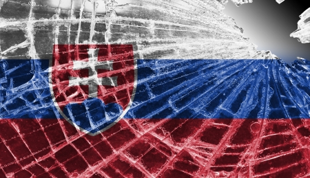 differential focus: Isolated broken glass or ice with a flag, Slovakia Stock Photo