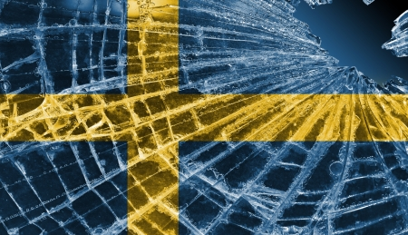 differential focus: Isolated broken glass or ice with a flag, Sweden
