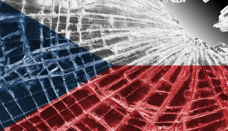 differential focus: Isolated broken glass or ice with a flag, The Czech Republic Stock Photo