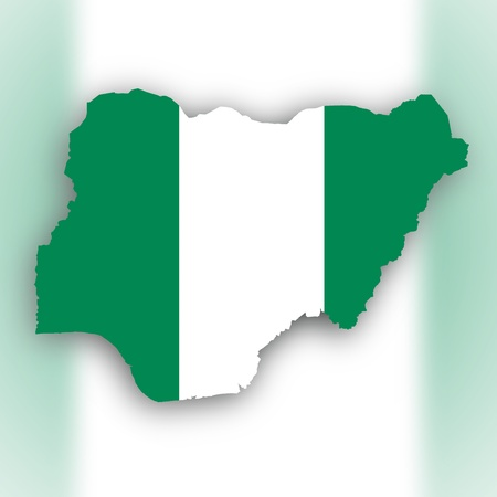 Nigeria map with the flag inside, isolated on white photo