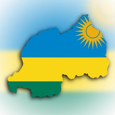 rwanda: Nigeria map with the flag inside, isolated on white