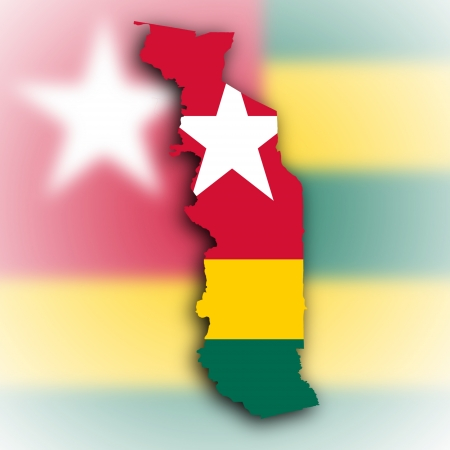 togo: Togo map with the flag inside, isolated on white