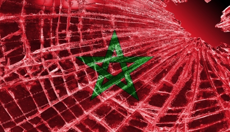 Broken ice or glass with a flag pattern, isolated, Morocco Stock Photo - 18213529