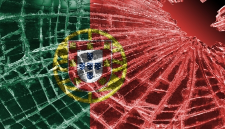 Broken ice or glass with a flag pattern, isolated, Portugal Stock Photo - 18213526