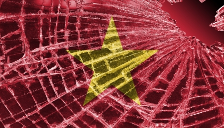 Broken ice or glass with a flag pattern, isolated, Vietnam Stock Photo - 18213528
