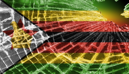 Broken ice or glass with a flag pattern, isolated, Zimbabwe Stock Photo - 18213527