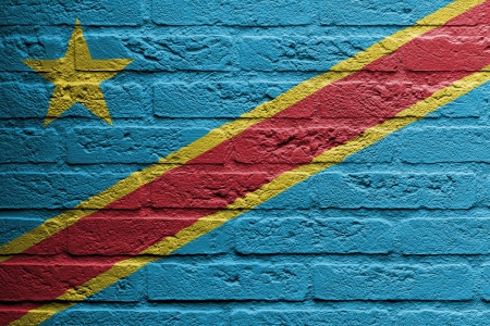 republic of the congo: Brick wall with a painting of a flag isolated, The Democratic Republic of the Congo Stock Photo