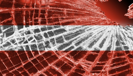 Broken ice or glass with a flag pattern, isolated, Austria Stock Photo - 18248325