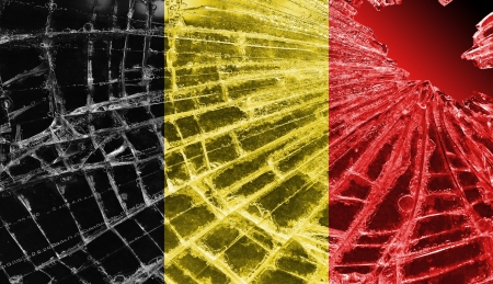 Broken ice or glass with a flag pattern, isolated, Belgium Stock Photo - 18248330