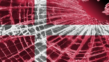 Broken ice or glass with a flag pattern, isolated, Denmark Stock Photo - 18248329