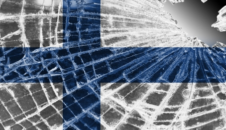Broken ice or glass with a flag pattern, isolated, Finland Stock Photo - 18248320