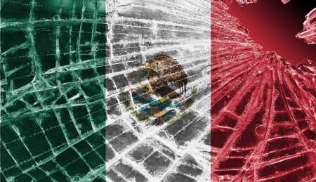 Broken ice or glass with a flag pattern, isolated, Mexico Stock Photo - 18248324