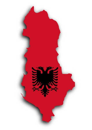 Country shape outlined and filled with the flag, Albania photo