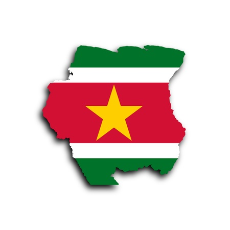 suriname: Country shape outlined and filled with the flag, Suriname Stock Photo