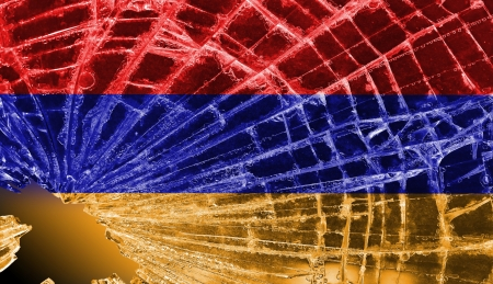 differential focus: Isolated broken glass or ice with a flag, Armenia