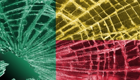 differential focus: Isolated broken glass or ice with a flag, Benin