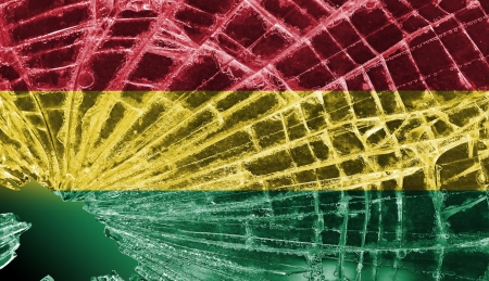 Isolated broken glass or ice with a flag, Bolivia Stock Photo
