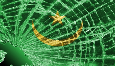 differential: Isolated broken glass or ice with a flag, Mauritania Stock Photo