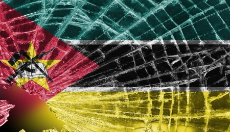 Isolated broken glass or ice with a flag, Mozambique Stock Photo