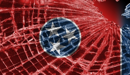 differential: Isolated broken glass or ice with a flag, Tennessee Stock Photo
