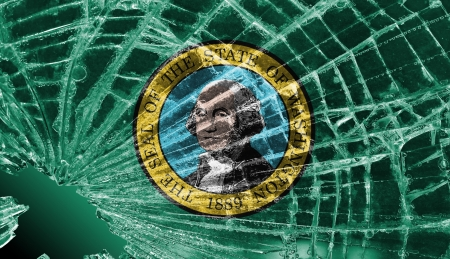 differential focus: Isolated broken glass or ice with a flag, Washington Stock Photo