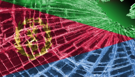 differential focus: Isolated broken glass or ice with a flag, Eritrea