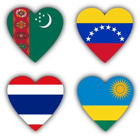 Flags in the shape of a heart, 4 different countries photo