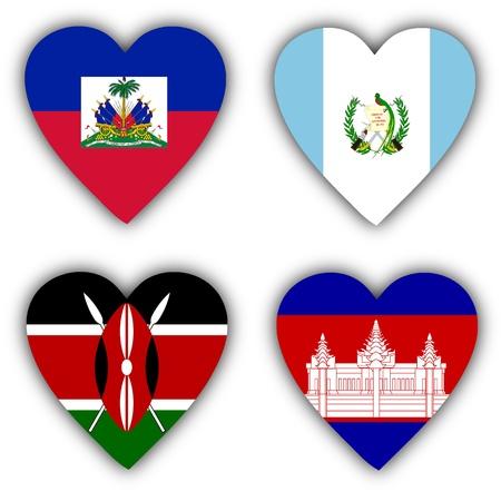 Vlaggen in de vorm van een hart, 4 verschillende landen
